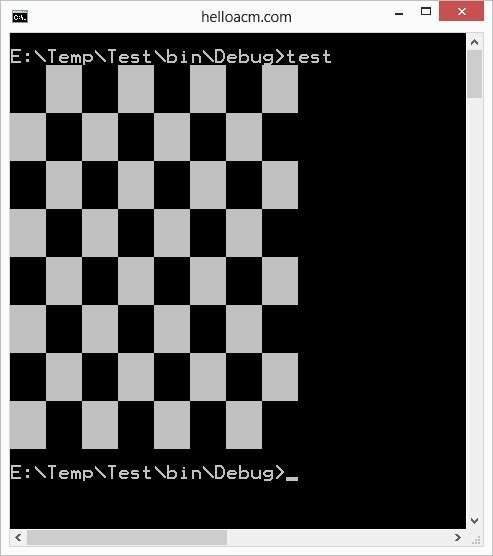 C++ Chess Board Printing in Windows Using CodePage 437 - Extended
