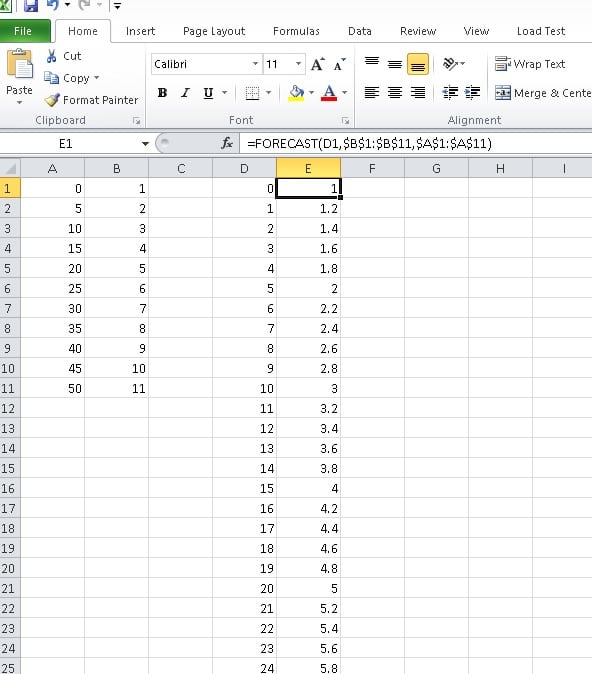 Using Forecast function in excel to predict or calculate a