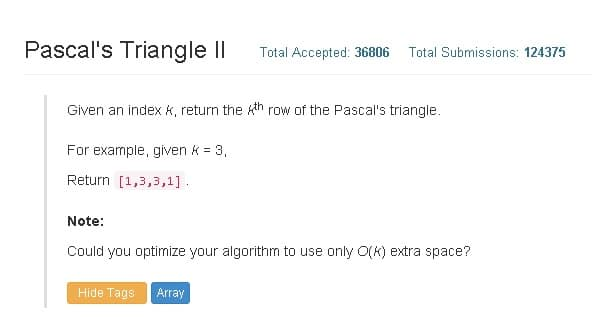 Coding Exercise - Pascal Triangle II - C++ and Python Solution ...