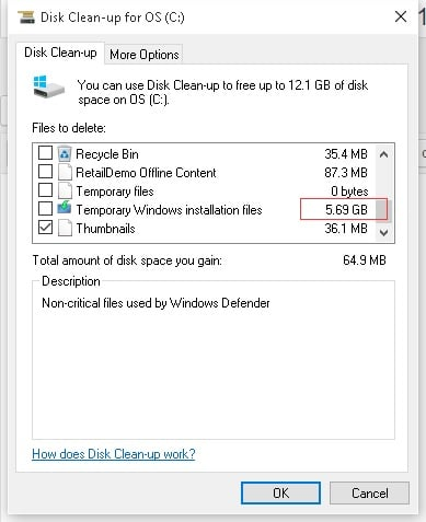 how to clear harddrive space windows 10