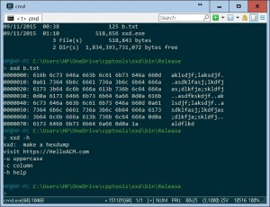 C++ Coding Exercise - xxd - make hex dump on Windows