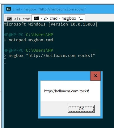 A Simple Msgbox Command Line Utility in Windows Batch