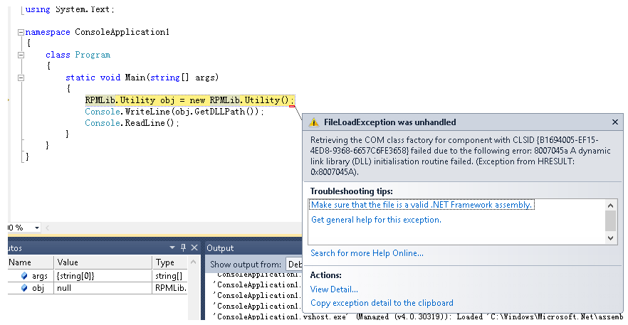 Visual Studio  NET 4 0 Disables COM DLL protected by