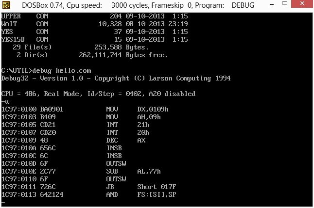 Lost Era - DOSBox, an x86 emulator with DOS - Hello World Assembly